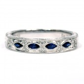 Kirk Kara Dahlia Collection 18K White Gold Diamond and Sapphire Wedding Ring