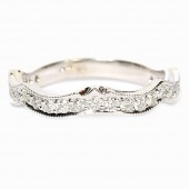 14K White Gold Diamond Contoured Wedding Band