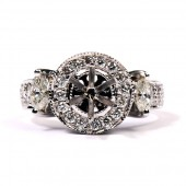 14K White Gold Ladies Diamond Semi-Mount Engagement Ring
