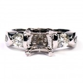 14K White Gold Three-Stone Diamond Semi-Mount Engagement Ring