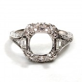 18K White Gold Art Deco Style Diamond Semi-Mount Engagement Ring