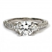 18K White Gold Diamond Three Stone Semi-Mount Engagement Ring Mounting by Verragio (ENG-0396)