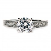 "Martin Flyer 18K White Gold and Platinum Diamond Semi-Mount Engagement Ring "" Flyer Fit"""