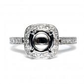 14K White Gold Diamond Semi-Mount Engagement Ring