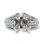 18K White Gold Diamond Semi-Mount Engagement Ring