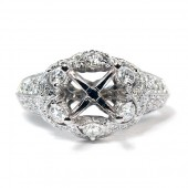 18K White Gold Antique-Style Diamond Pave Semi-Mount Engagement Ring