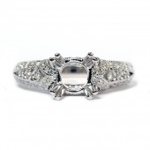 Antique-Style 14K White Gold Diamond Semi-Mount Engagement Ring
