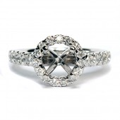 14K White Gold Diamond Semi-Mount Engagement Ring With Halo