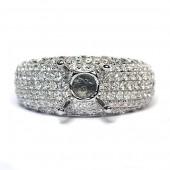 14K White Gold Diamond Pavé Semi-Mount Engagement Ring