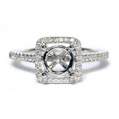 14K White Gold Diamond Semi-Mount Engagement Ring With Square Halo