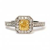 18K Two-Tone Gold Fancy Yellow Diamond Engagement Ring