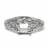 Antique Style Platinum Diamond Semi-Mount Engagement Ring