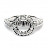 18K White Gold Diamond Semi-Mount Engagement Ring Mounting