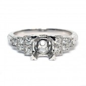 14K White Gold Vintage Style Diamond Semi-Mount Engagement Ring