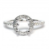 14K White Gold Diamond Halo Semi-Mount Engagement Ring