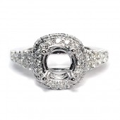 14K White Gold Diamond Semi-Mount Engagement Ring