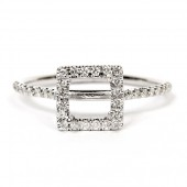 18K White Gold Semi-Mount Engagement Ring With Square Halo