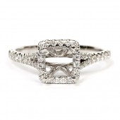 18K White Gold Semi-Mount Engagement Ring