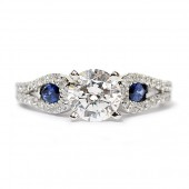 Scott Kay 14K White Gold Sapphire And Diamond Semi-Mount Engagement Ring