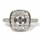 Diamond Semi-Mount Engagement Ring with Cushion Halo