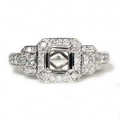 14K White Gold Diamond Semi-Mount Three-Stone Engagement Ring