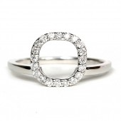 14K White Gold Diamond Halo Enhancer Ring