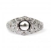 18K White Gold Vintage Style Diamond Semi-Mount Engagement Ring