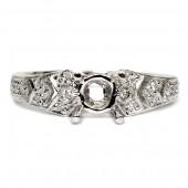 14K White Gold Art Deco Style Diamond Semi-Mount Engagement Ring