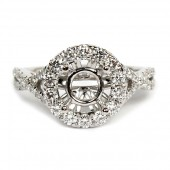 Diamond Semi-Mount Halo Engagement Ring