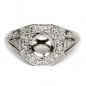 Antique Style Diamond Semi-Mount Engagement Ring