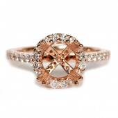Rose Gold Diamond Halo Semi-Mount Engagement Ring