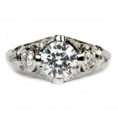 Antique Style Three Stone Diamond Semi-Mount Engagement Ring