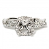 14K White Gold Semi-Mount Engagement Ring with Cushion Halo and Twist Shank