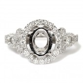 14K White Gold Oval Semi-Mount Engagement Ring with Diamond Scroll Shank