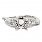 14K White Gold Semi-Mount Swirl Design Diamond Engagement Ring