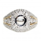 14K White and Rose Gold Tapered Filigree Semi-Mount Engagement Ring