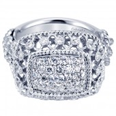 Gabriel & Co. 18K White Gold Diamond Pave Filigree Ring