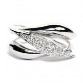 18K White Gold Diamond Wave Ring