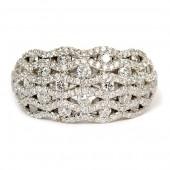 18K White Gold Domed Lattice Ring