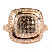 14K Rose Gold Cognac and White Diamond Ring