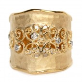14K Yellow Gold Diamond Filigree Gallery Ring