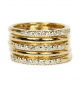 14K Yellow Gold Five Band Diamond Ring
