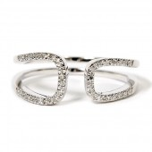 14K White Gold Diamond Open Loop Ring