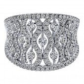 14K White Gold Wide Filigree Diamond Ring
