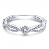 14K White Gold Entwined Diamond Stackable Band