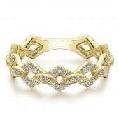 14K Yellow Gold Geometric Shape Diamond Stackable Band