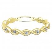 14K Yellow Gold Diamond Twist Stackable Band