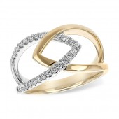 14K Two-Tone Gold Interlocking Diamond Ring