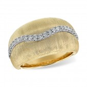 14K White and Yellow Gold Dome Ring with Diamonds