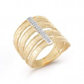 14K Yellow Gold Diamond Cuff Ring